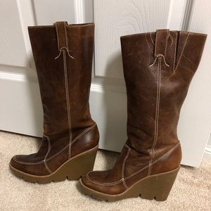 Michael Kors cognac leather wedge boots. Size 8.5